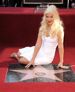 Christina Aguilera Walk of Fame Ceremony sexy tight dress